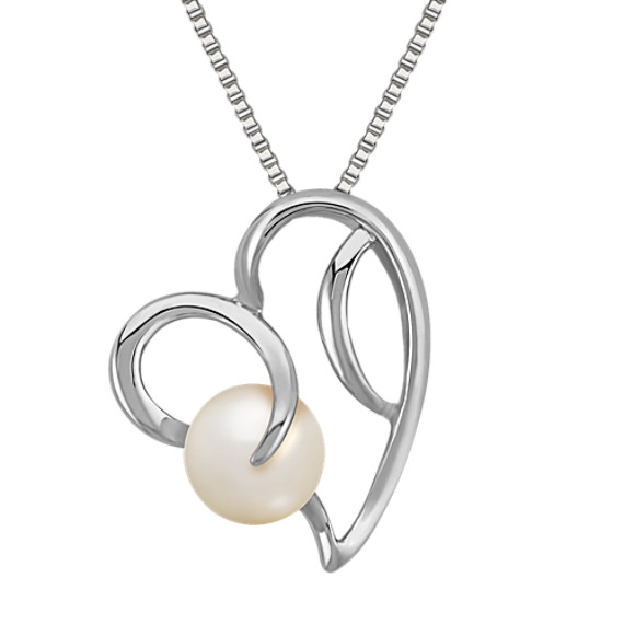 8mm Cultured Freshwater Pearl and Sterling Silver Heart Pendant (18 in)