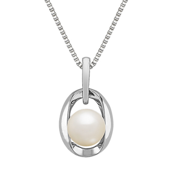 8mm Cultured Freshwater Pearl and Sterling Silver Pendant (18 in)