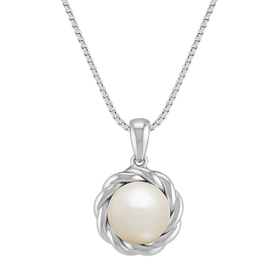8mm Cultured Freshwater Pearl and Sterling Silver Twist Pendant (18 in)