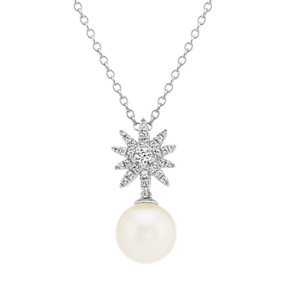 8mm Cultured Freshwater Pearl and White Sapphire Starburst Pendant (20 in)