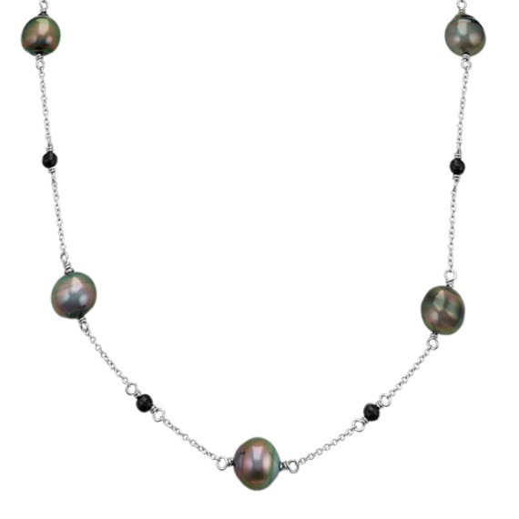 8mm Cultured Tahitian Pearl and Black Agate Necklace (18 in)