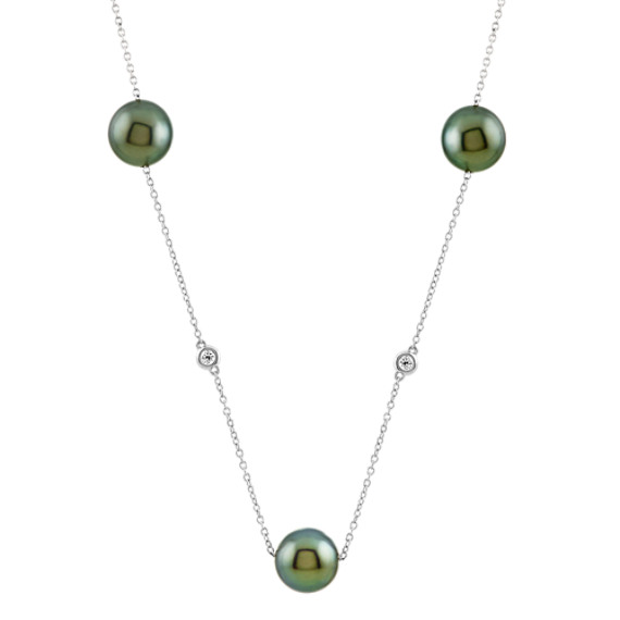 8mm Tahitian Pearl and Diamond Necklace (24 in)