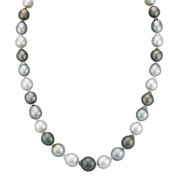 9-12mm Cultured Tahitian and South Sea Pearl Necklace in Sterling Silver (23 in)