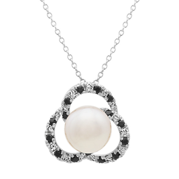 9mm Akoya Pearl, Diamond and Black Sapphire Pendant (22 in)
