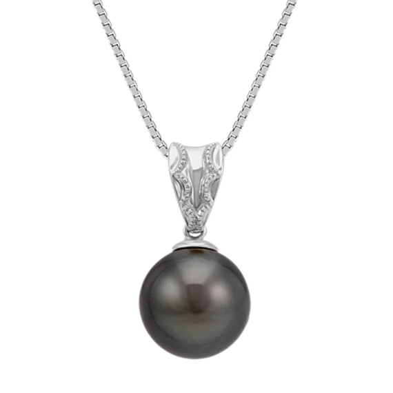 9mm Cultured Tahitian Pearl Solitaire Pendant in 14k White Gold (18 in)