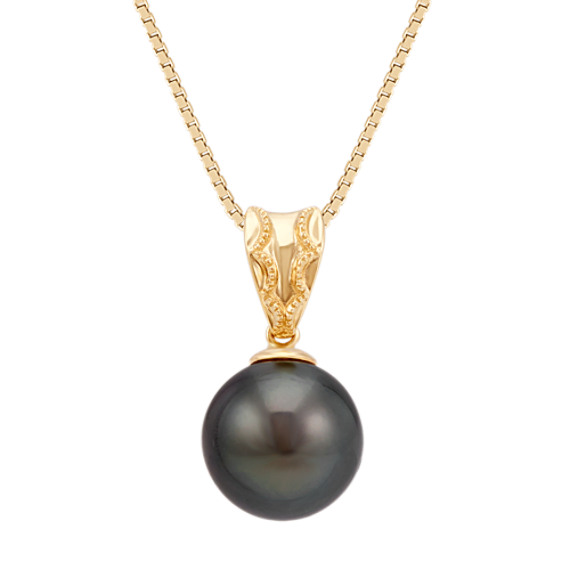 9mm Cultured Tahitian Pearl Solitaire Pendant in 14k Yellow Gold (18 in)