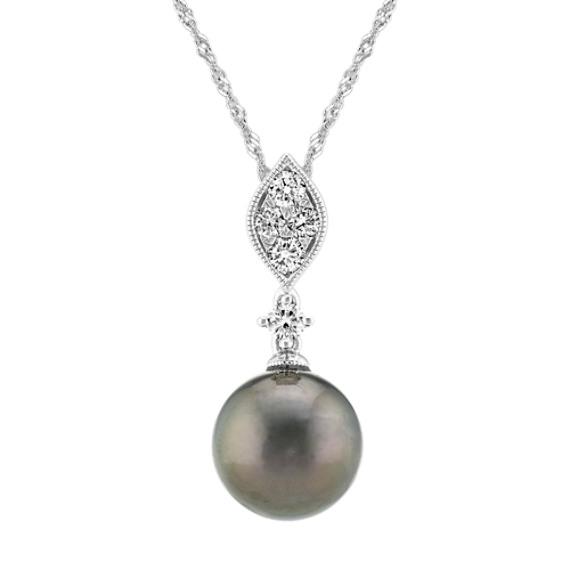 9mm Cultured Tahitian Pearl and Diamond Pendant (20 in)