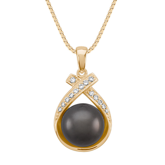 9mm Cultured Tahitian Pearl and Round Diamond Pendant (18 in)