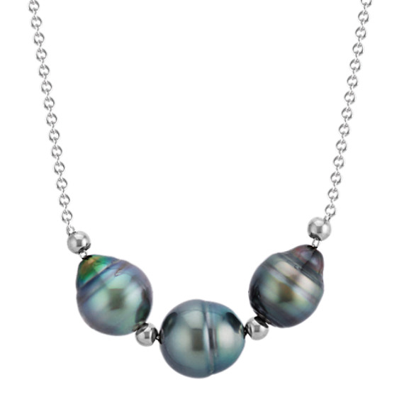 9mm Cultured Tahitian Triple Pearl Sterling Silver Necklace (18 in)