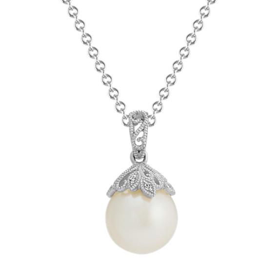 9mm Freshwater Pearl & Diamond Vintage Pendant (20 in)