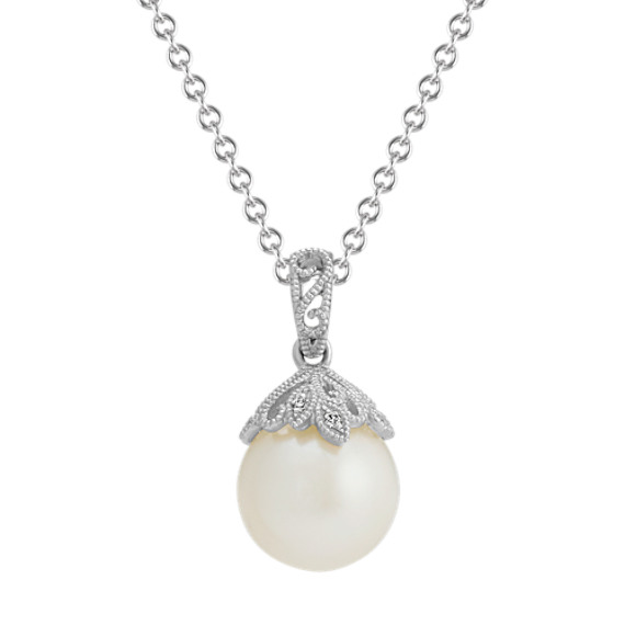 9mm Freshwater Pearl & Diamond Vintage Pendant (20 in)