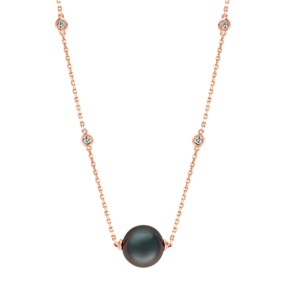 9mm Tahitian Pearl and Diamond Necklace (20 in)