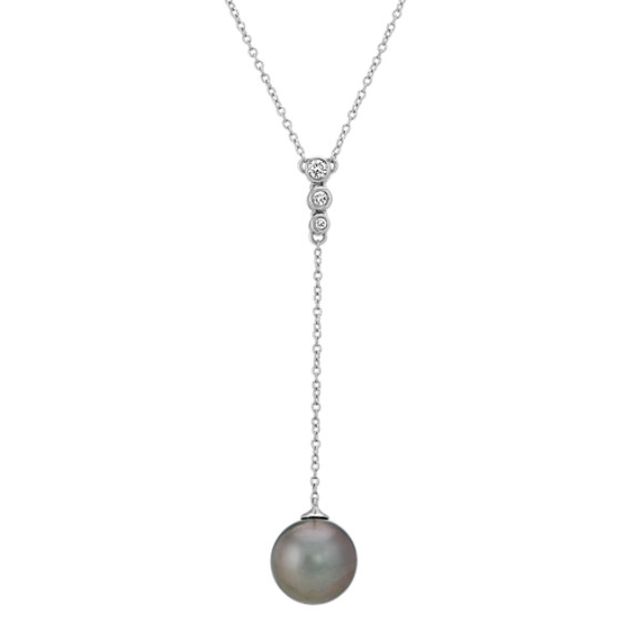 9mm Tahitian Pearl and Diamond Y Necklace (18 in)