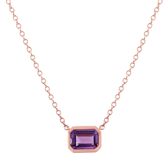 Amethyst Necklace in 14k Rose Gold (18 in)