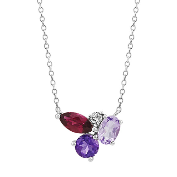 Amethyst, Rhodolite Garnet and White Sapphire Necklace (18 in)