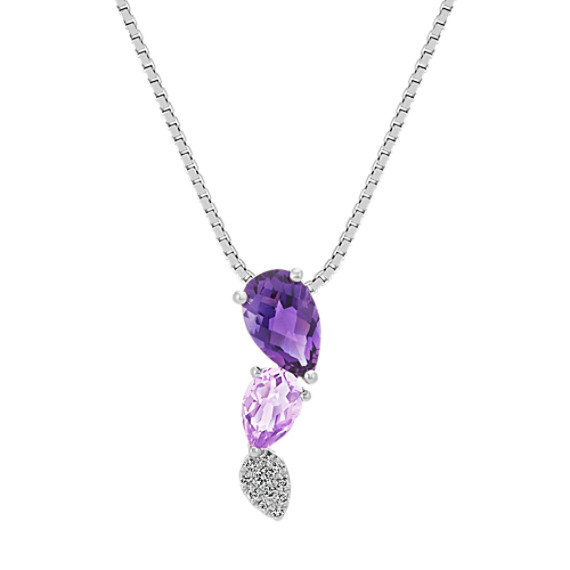 Amethyst and Diamond Pendant (20 in.)
