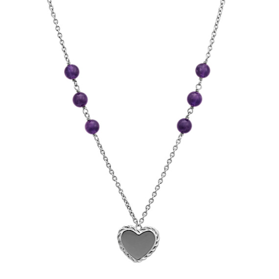 Amethyst and Sterling Silver Heart Necklace (28 in)