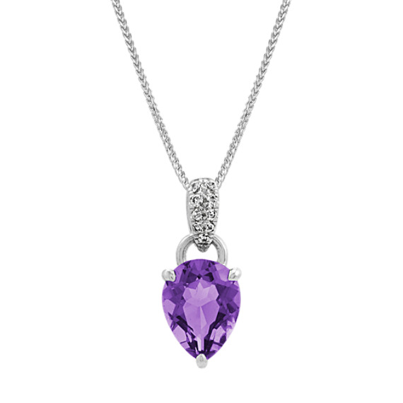 Amethyst and White Sapphire Pendant (22 in)