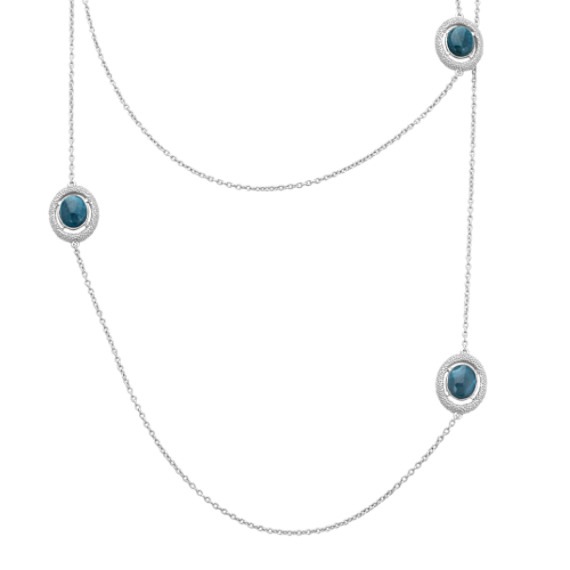 Apatite and Sterling Silver Necklace (48 in)