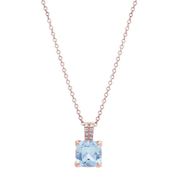 Aquamarine Pendant with Diamond Accents (18 in)