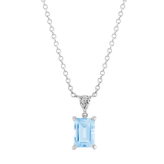 Aquamarine & Diamond Pendant in 14k White Gold (18 in)