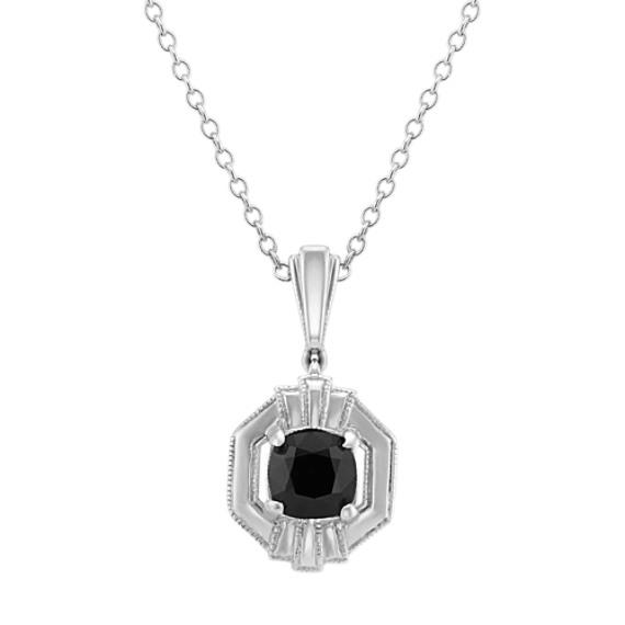 Art Deco Black Sapphire Pendant (20 in)