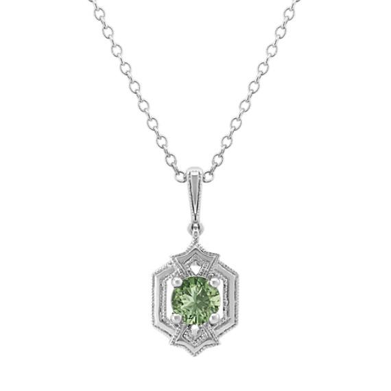 Art Deco Green Sapphire Pendant (20 in)