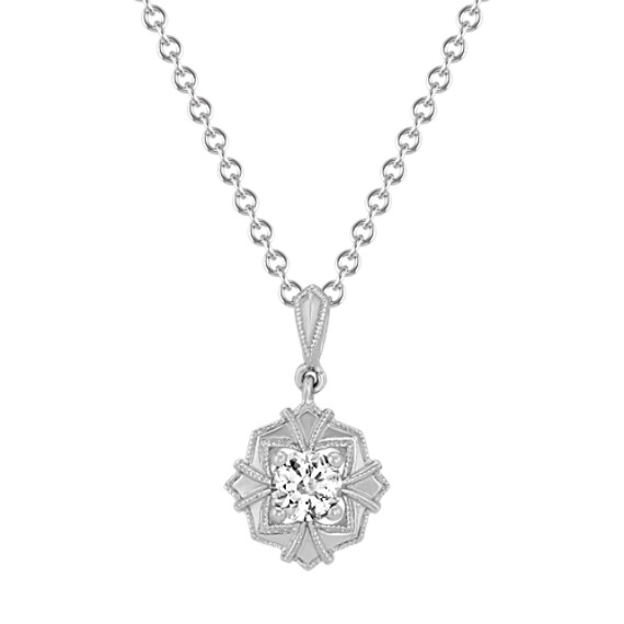 Art Deco White Sapphire Pendant (20 in)