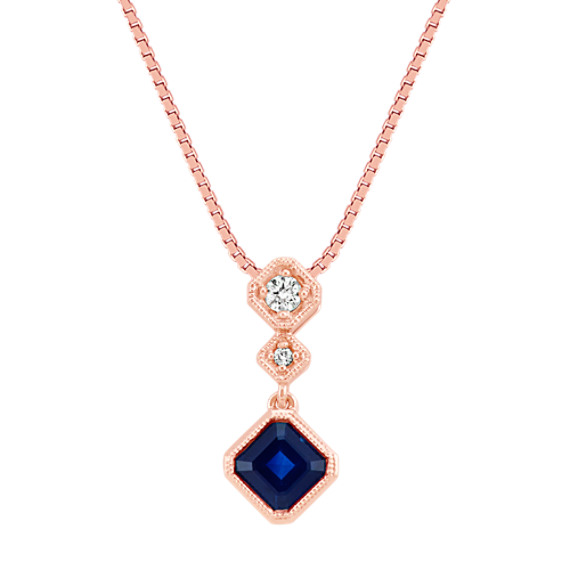 Asscher Cut Traditional Sapphire and Diamond Three-Stone Pendant (18 in)