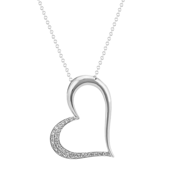 Asymmetrical Diamond Heart Pendant (22 in.)