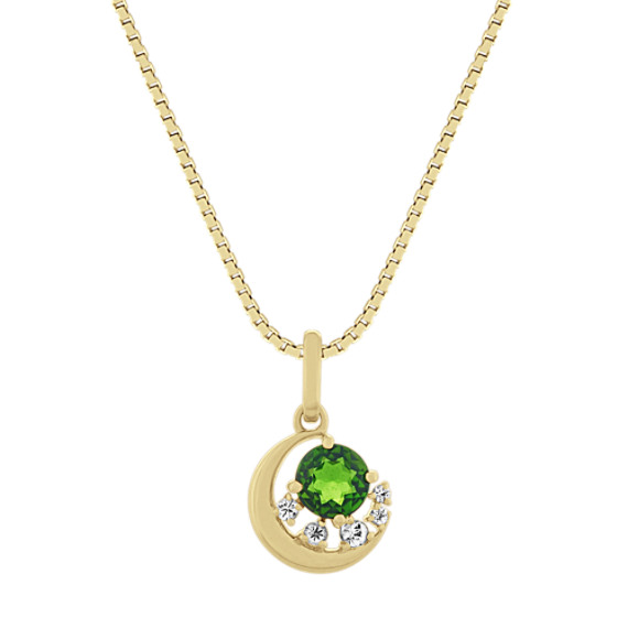 Aurora Chrome Diopside and Diamond Pendant in 14k Yellow Gold