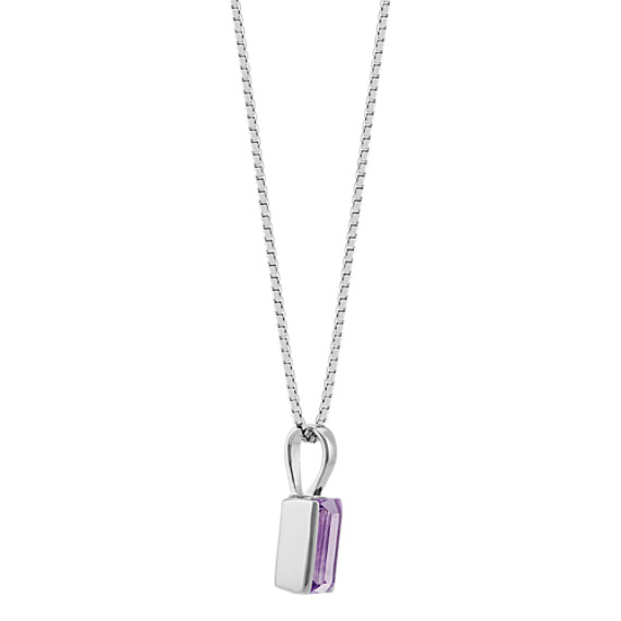 Baguette Amethyst Solitaire Pendant in Sterling Silver (18 in) image