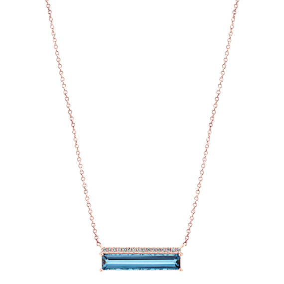 Baguette London Blue Topaz and Diamond Necklace in 14k Rose Gold (18 in)