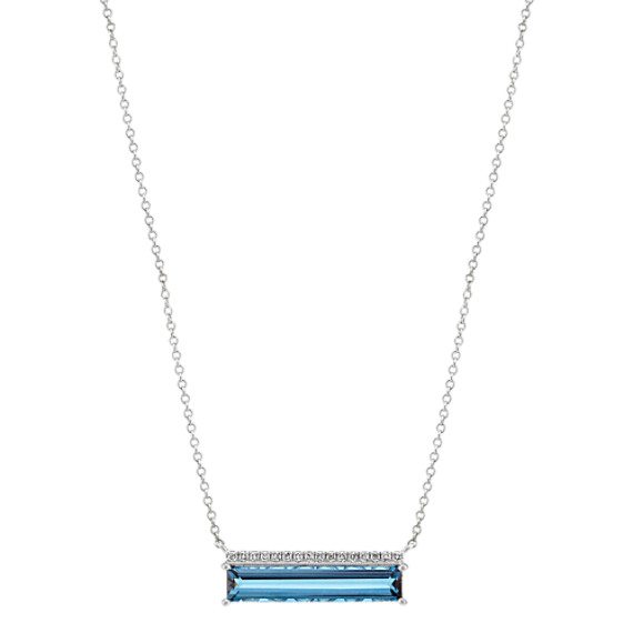 Baguette London Blue Topaz and Diamond Necklace in 14k White Gold (18 in)