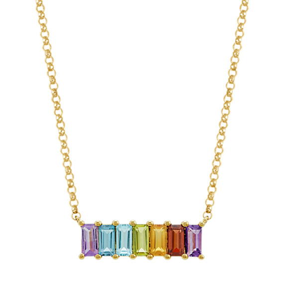 Baguette Rainbow Gemstone Necklace (18 in)