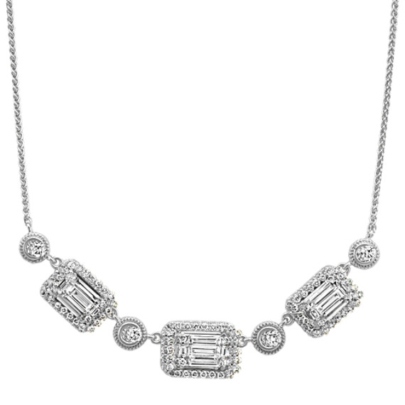 Baguette and Round Diamond Necklace (17.5 in)