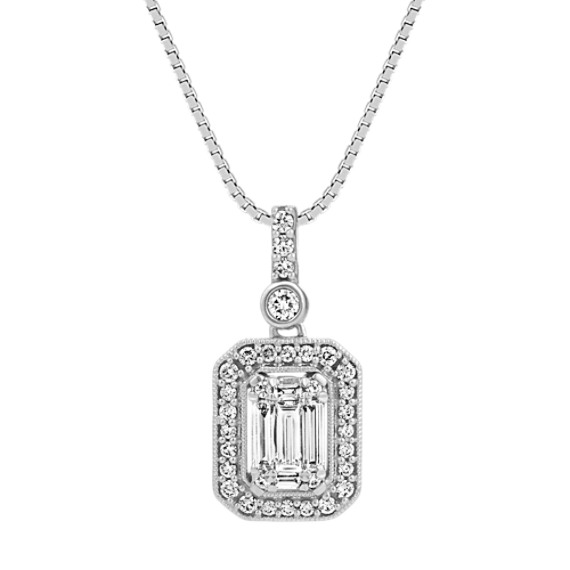 Baguette and Round Diamond Pendant (18 in)