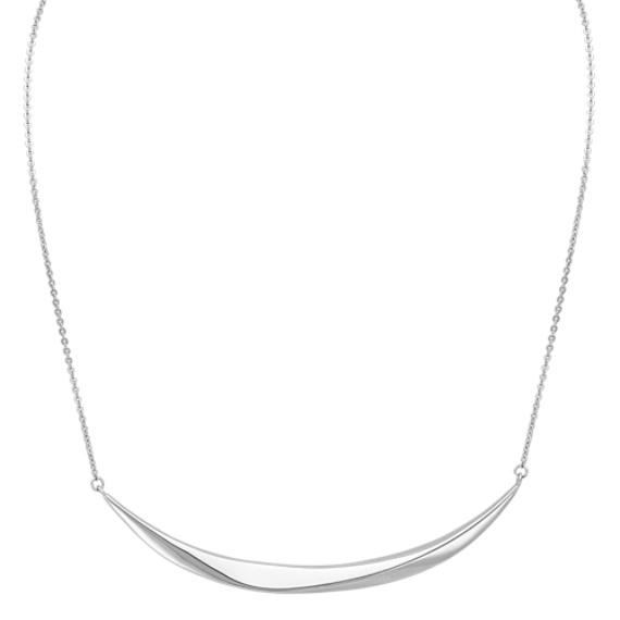 Bevel Edge Curve Necklace in Sterling Silver (18 in)