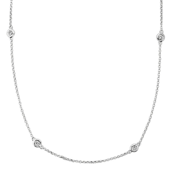 Bezel-Set Diamond Necklace (18 in)