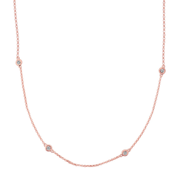 Bezel-Set Diamond Necklace in 14k Rose Gold (18 in)