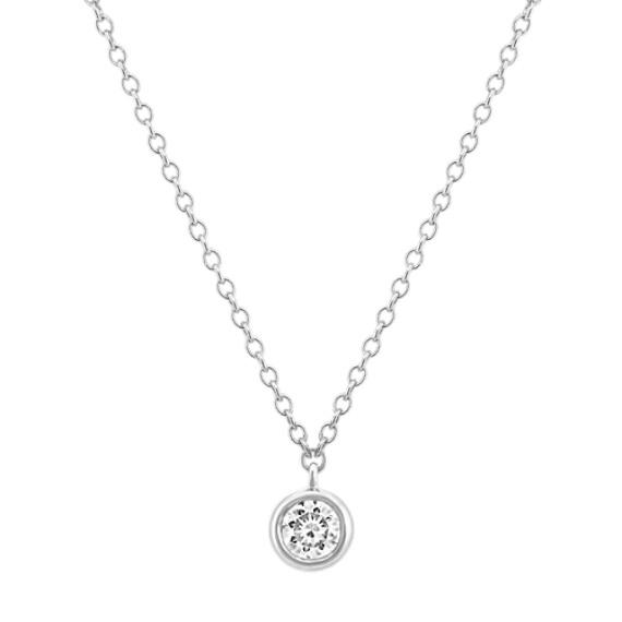 Bezel-Set Diamond Necklace in 14k White Gold (18 in)