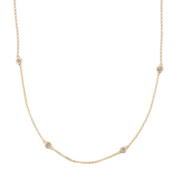 Bezel-Set Diamond Necklace in 14k Yellow Gold (18 in)