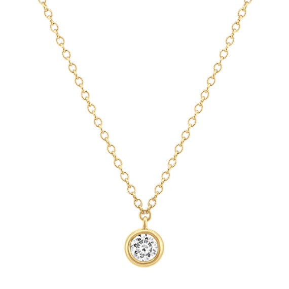 Bezel-Set Diamond Necklace in 14k Yellow Gold (18 in)