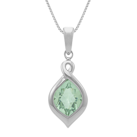 Bezel-Set Fancy Shaped Quartz Pendant in Sterling Silver (18 in)