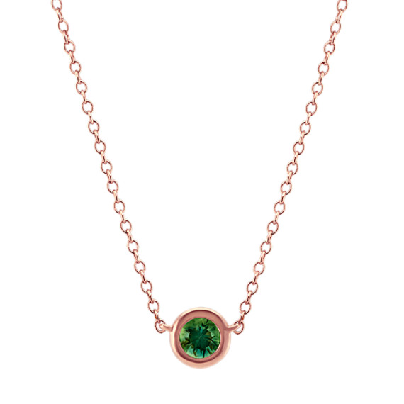 Bezel-Set Green Sapphire Necklace (18 in)
