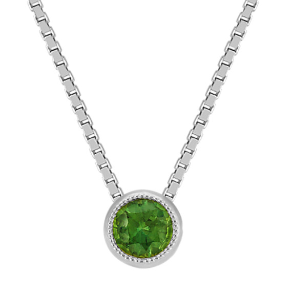 Bezel-Set Green Sapphire Solitaire Pendant in 14k White Gold (18 in)