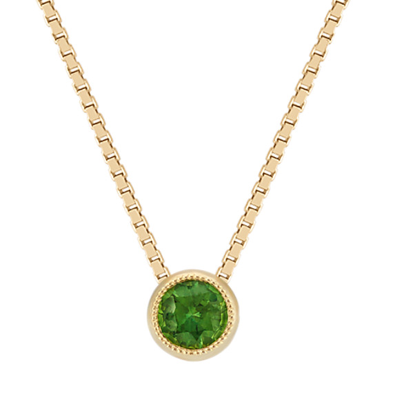 Bezel set green sapphire solitaire pendant in 14k yellow gold 18 in bezel set green sapphire solitaire pendant in 14k yellow gold 18 in aloadofball Choice Image