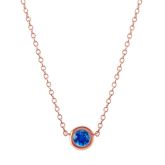 Bezel-Set Kentucky Blue Sapphire Necklace (18 in)