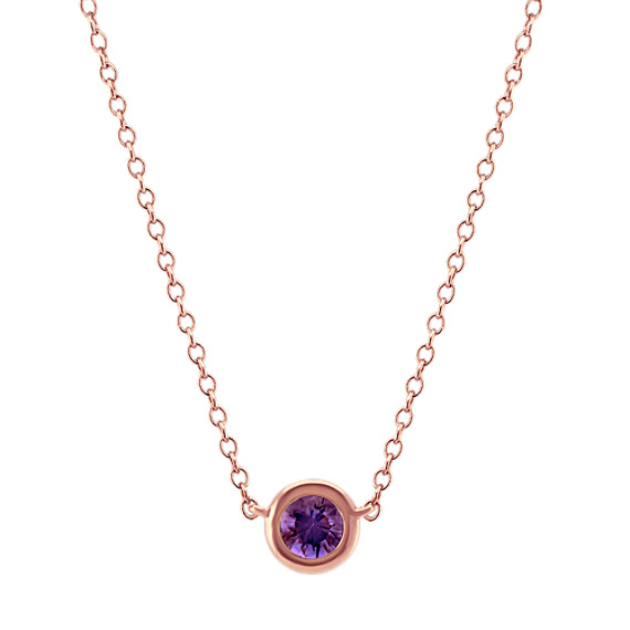Bezel-Set Lavender Sapphire Necklace (18 in)
