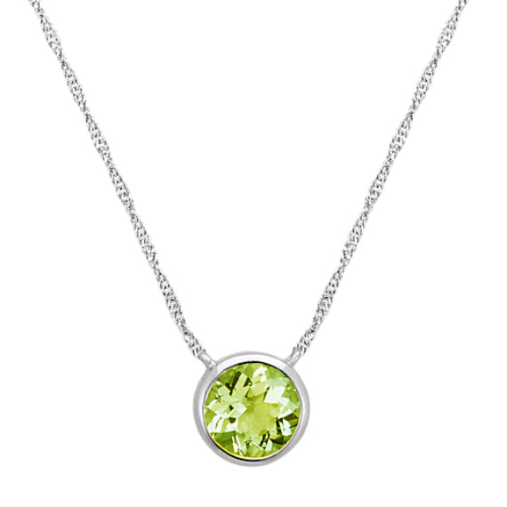 Bezel-Set Peridot Necklace in 14k White Gold (18 in)